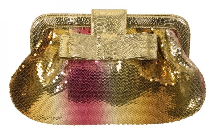 FUCHSIA-GOLD SEQUIN HANDBAG