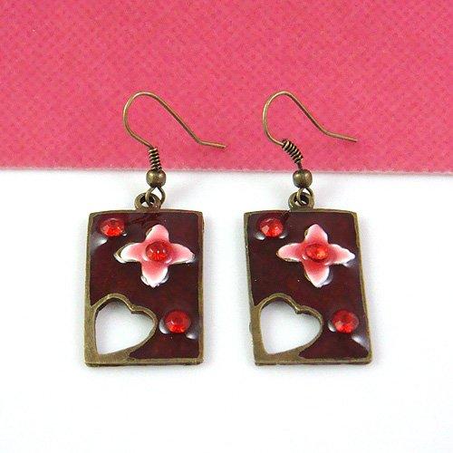 Japanese Style Sakura with Burgundy Crystal Earring