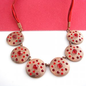 Red Crystal on Pink Plate Necklace