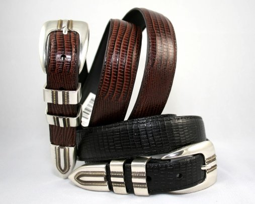 "Men's ""Lizard Print"" Leather Belt Set - Black & Brown - Sz 36"