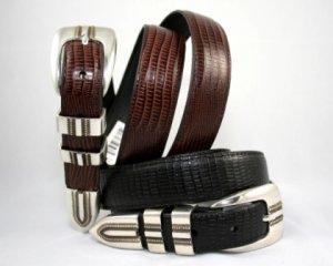 "Men's ""Lizard Print"" Leather Belt Set - Black & Brown - Sz 44"