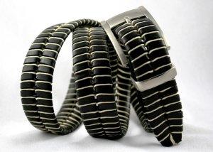 Men's Black Leather Belt w/Waxed Cord Lacing - Sz 34