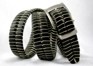 Men's Black Leather Belt w/Waxed Cord Lacing - Sz 36
