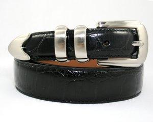 NEW Men's Alligator Leather Dress Belt - Black - Sz 34