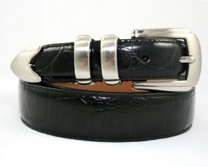 NEW Men's Alligator Leather Dress Belt - Black - Sz 40