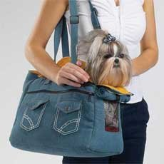 Denim Dog Carrier-Small-New with Tag