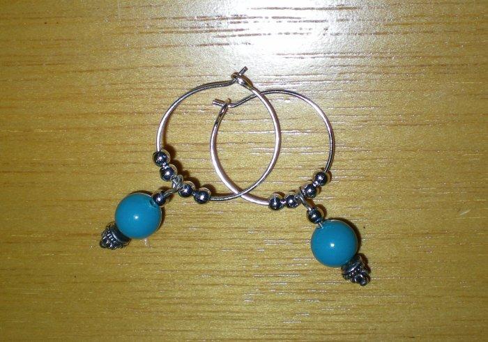 Blue bead Hoops