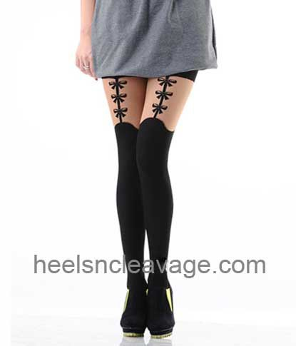 Black Front Bow Suspender Print Pattern Tights