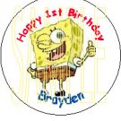SpongeBob Personalized birthday button