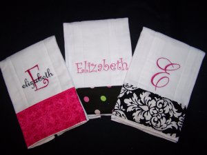 Set of 3 Monogrammed Personalized Burp Rag Cloths Cloth