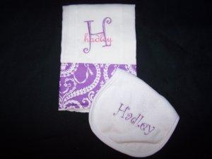 Personalized burp cloth & bib set