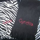 Personalized monogrammed fleece scarf