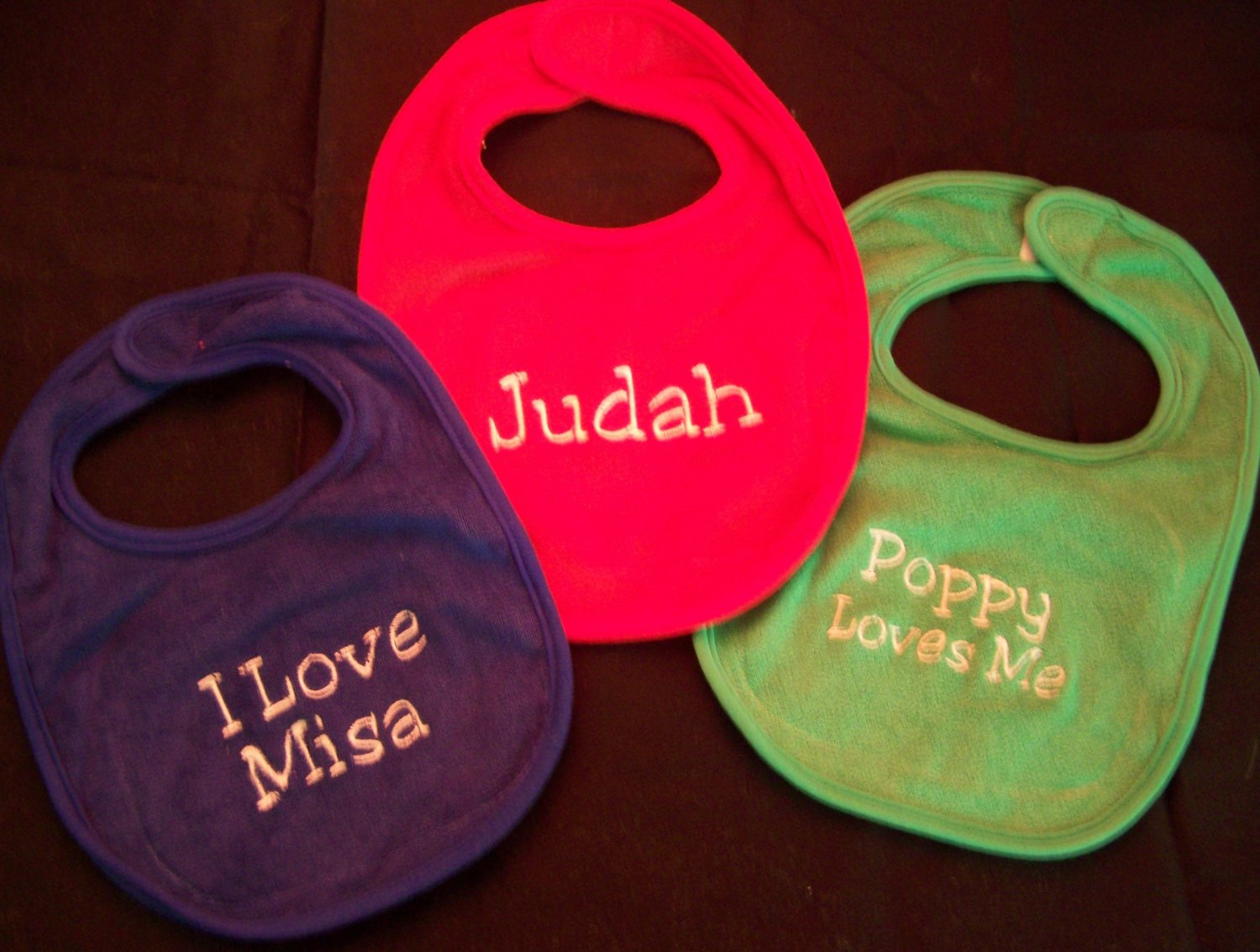 Baby bibs set of 3 monogrammed personalized
