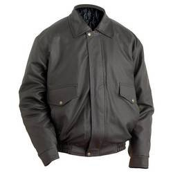 Casual Outfitters Bomber Style Jacket with Genuine Leather Collar and Cuffs