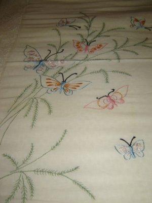 Vintage Bedspread Emb Butterflies & Crochet Insets
