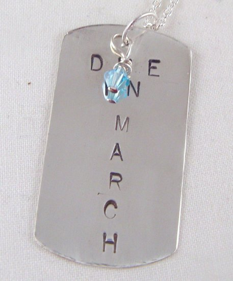Custom Hand Stamped Mom Maternity Pregnant Due In Sterling Silver Dog Tag Pendant Necklace N138
