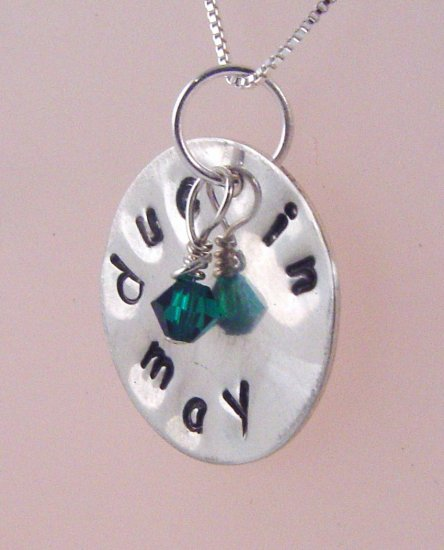 Due Date Necklace Hand Stamped Sterling Silver N131