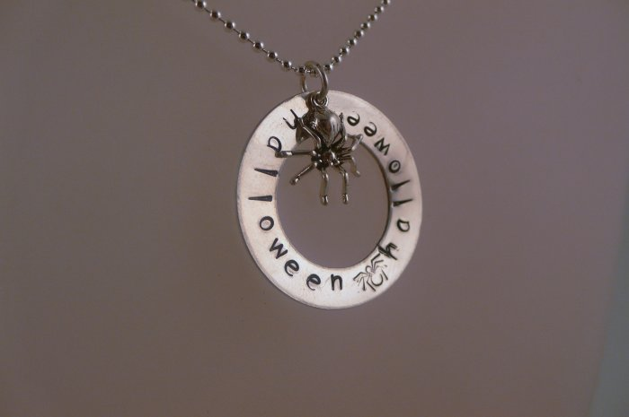 Halloween Custom Hand Stamped Personalized Circle Sterling Silver Pendant  Necklace N124