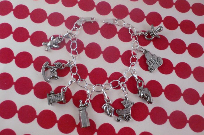 BABY SHOWER GIFT - 9 MONTH Pewter Charm Sterling Silver Baby Shower Bracelet B011