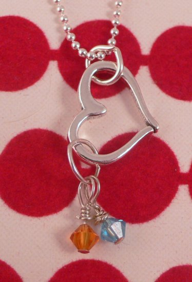 OPEN HEART Sterling Silver Pendant Necklace Swarovski Crystal Birthstone Charms N110
