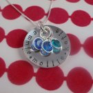 Custom Personalized Birthstone Necklace Sterling Silver N070