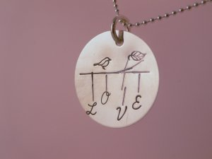 Love Bird Custom Hand Stamped Personalized Sterling Silver Circle Pendant Necklace N069