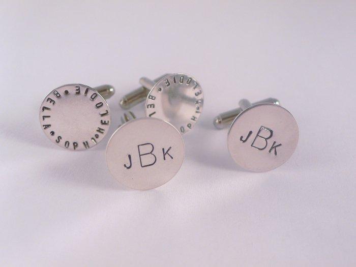 Cufflinks Men Personalized Sterling Silver Circle Monogram Names M007