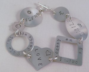 Heart Circle Flower Oval Sterling Silver Bracelet Personalized Custom Hand Stamped B002
