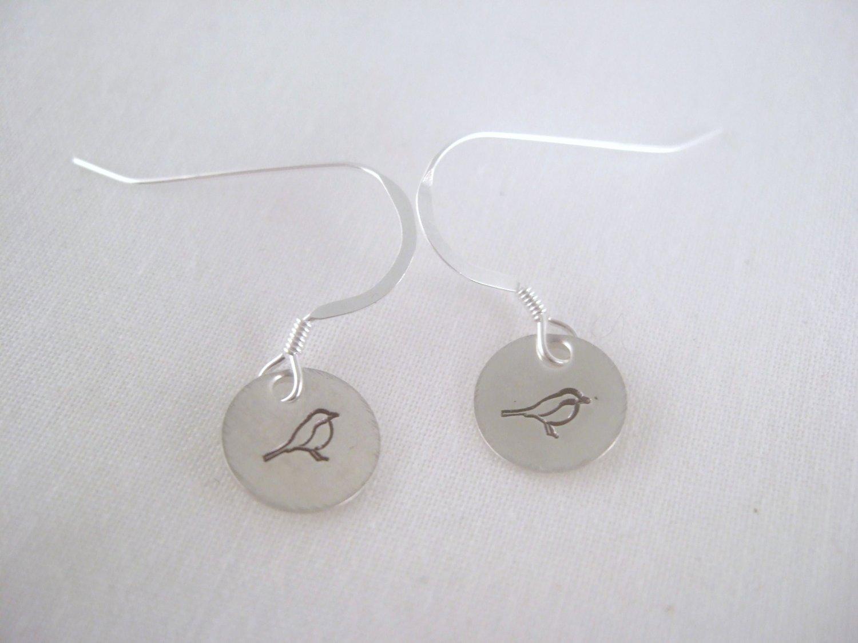 Song Bird Sterling Silver Dangle Circle Earrings E008