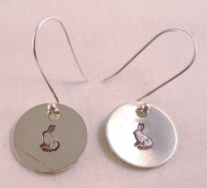 Rabbit Bunny Easter Alice in Wonderland Sterling Silver Dangle Circle Earrings E005