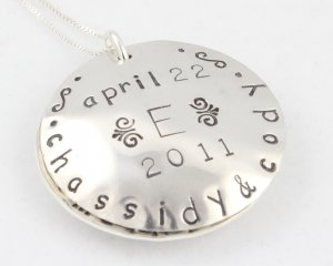 Something Blue Bride Locket Necklace Hand Stamped Sterling Silver N098