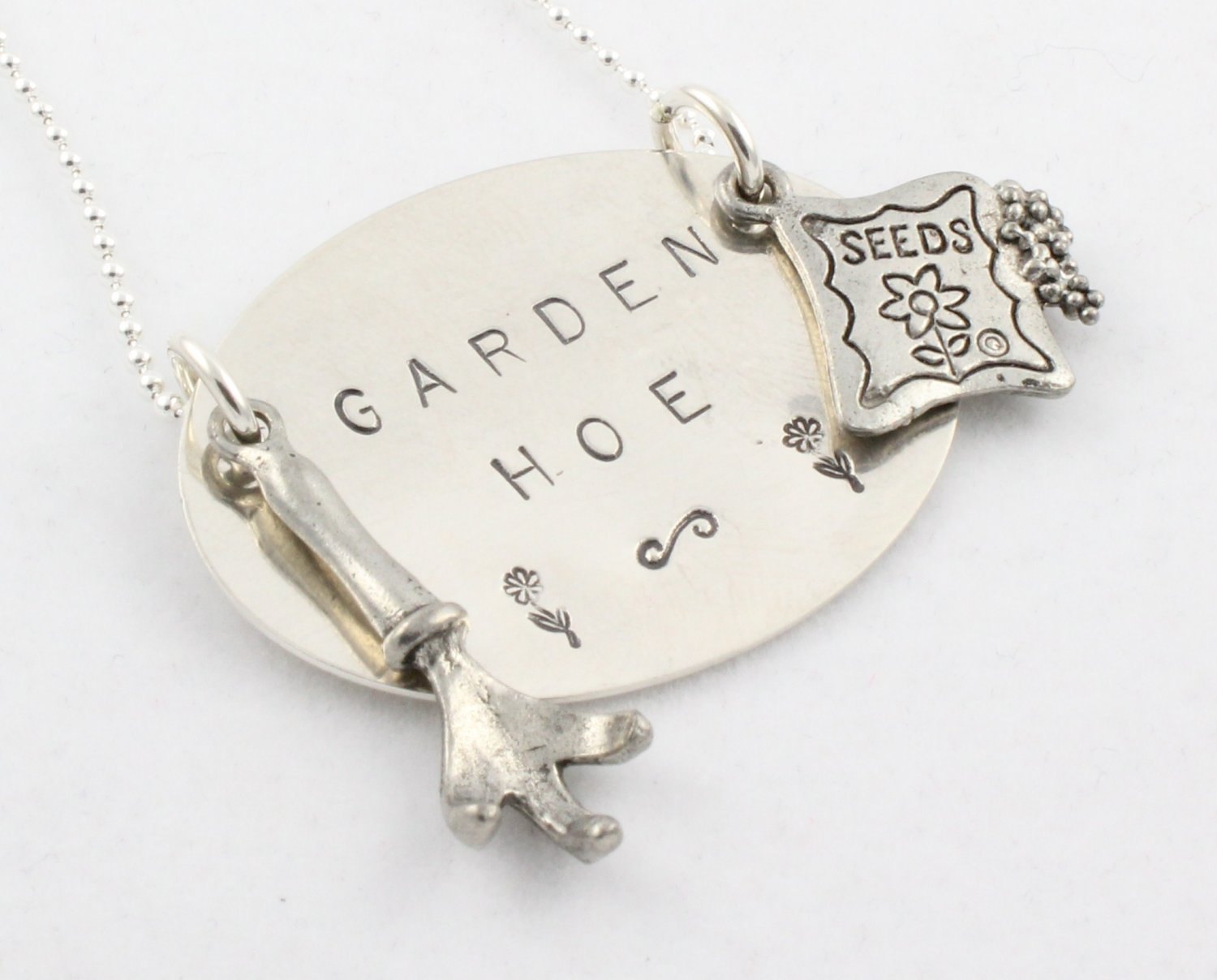 Garden Hoe Custom Personalized Sterling Silver Necklace N094