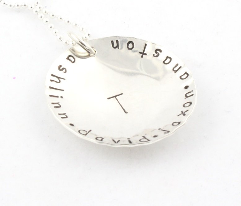 Family Initial Custom Personalized Sterling Silver  Necklace N111