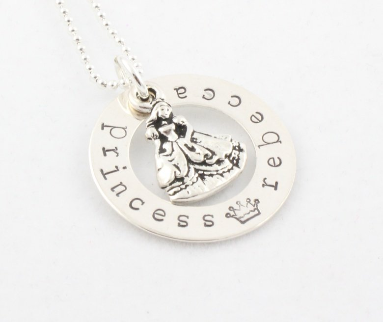 PRINCESS Custom Hand Stamped Personalized Circle Sterling Silver Pendant Necklace N123