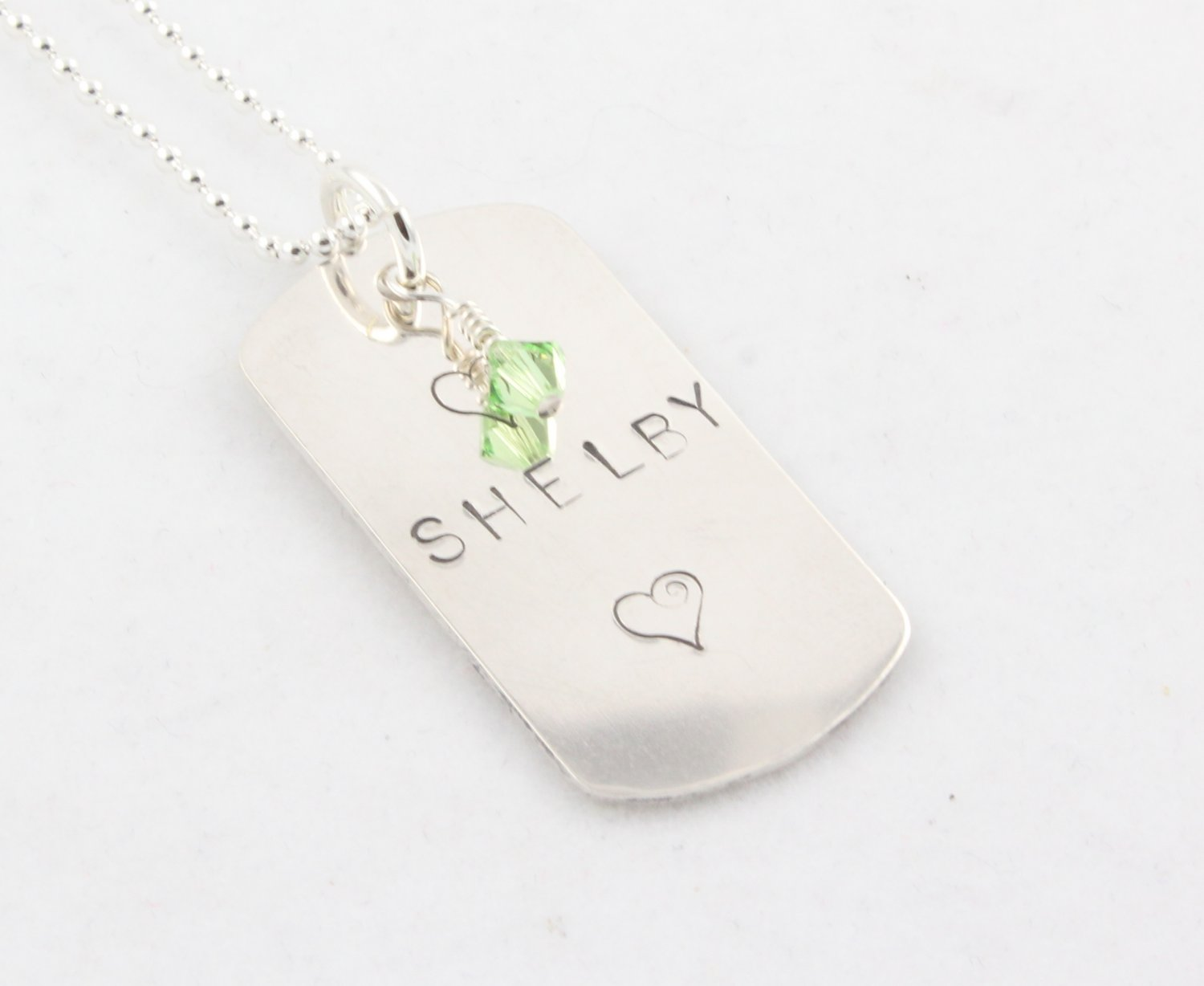 Custom Handstamped Personalized Mom Family Sterling Silver Dog Tag Pendant Necklace N142