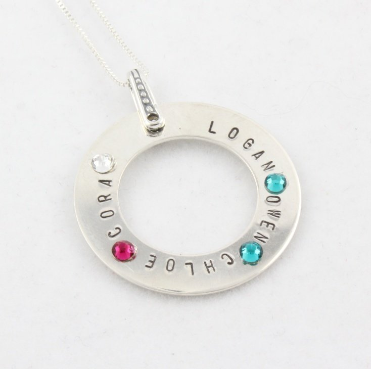 Birthstone Custom Personalized Necklace Sterling Silver N100
