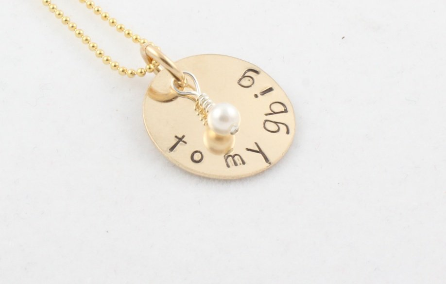 Custom Handstamped Personalized Mom Family Gold Filled Circle Pendant Necklace N128