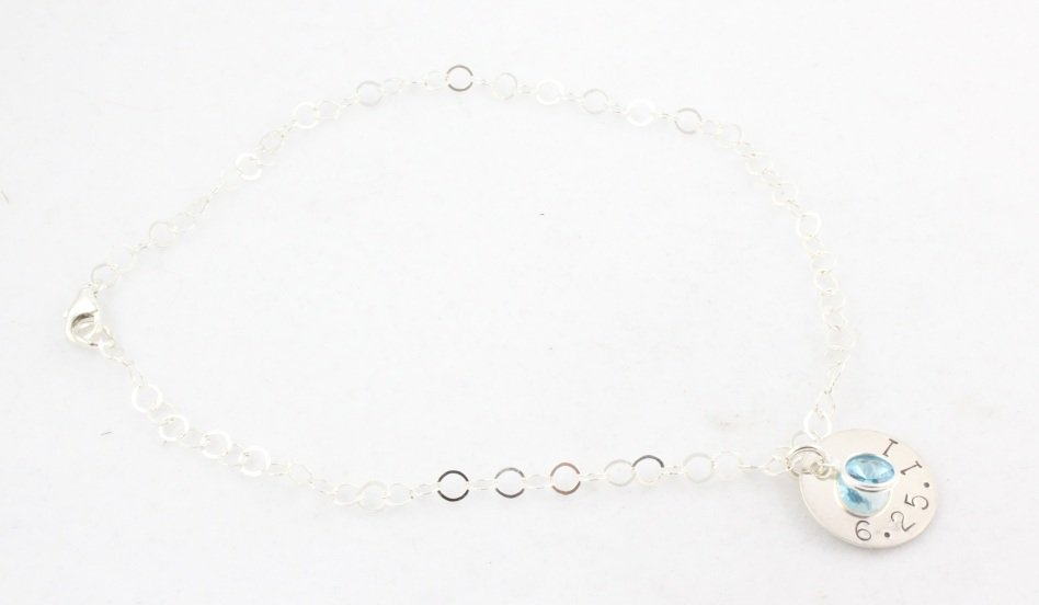 Anklet Ankle Bracelet Custom Personalized Sterling Silver B012