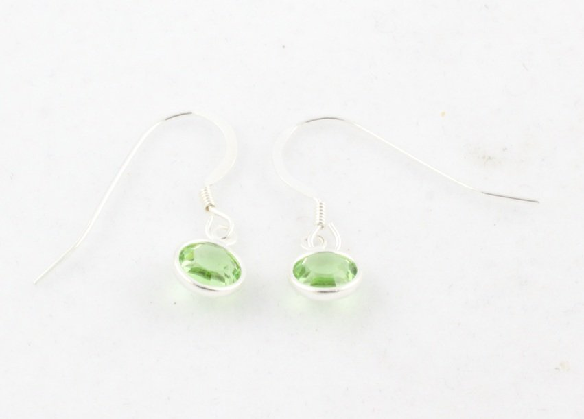Birthstone Earrings Sterling Silver Dangle Swarovski Crystal