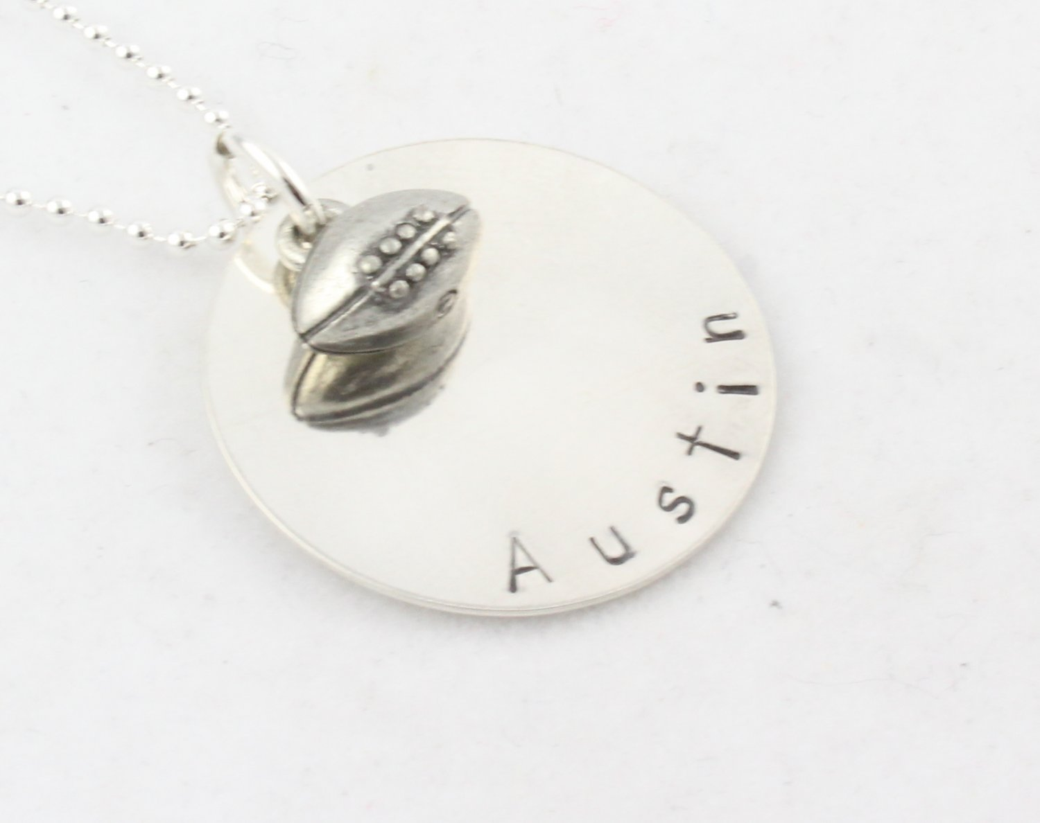 FOOTBALL Necklace BASEBALL SOCCER BASKETBALL MUSIC SPORTS Custom Handstamped Sterling Circle N130