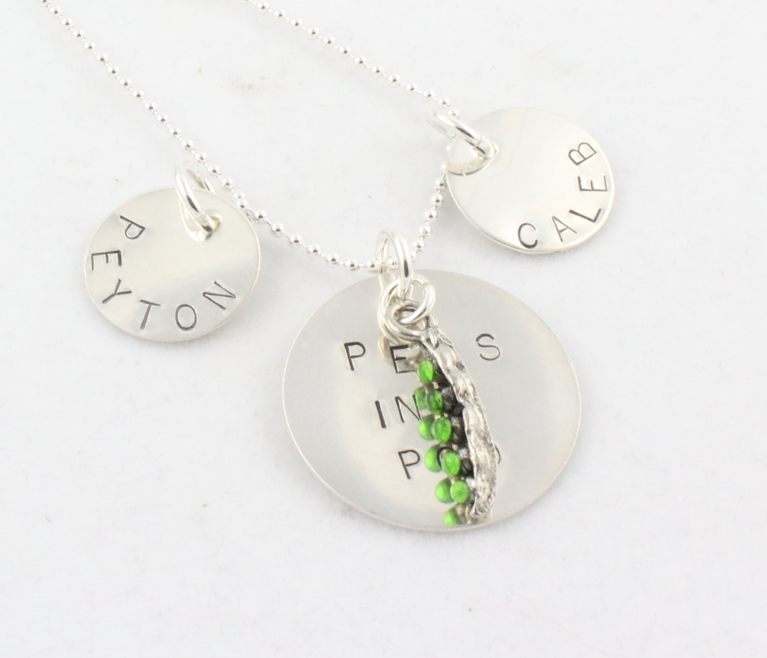PEAS IN A POD Custom Hand Stamped Personalized Sterling Silver Circle Pendant Necklace N114