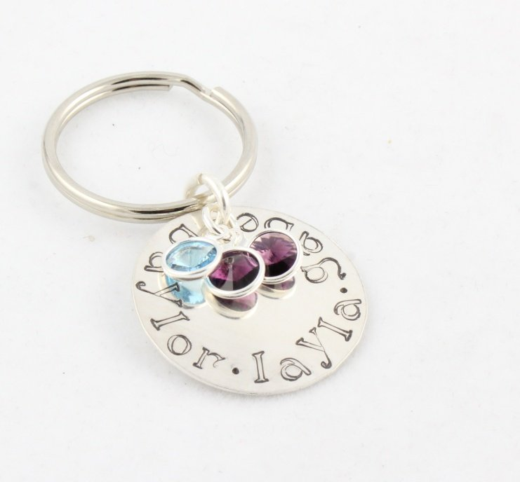 Birthstone Keychain Key Ring Sterling Silver