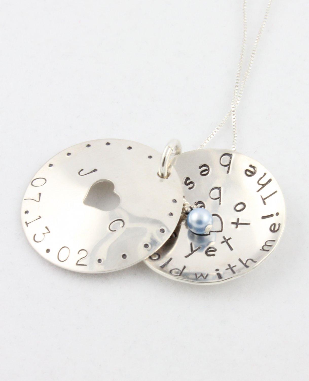 Something Blue Bride Locket Necklace Hand Stamped Sterling Silver
