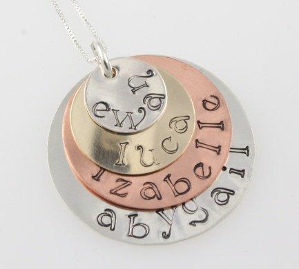 Mixed Metal Necklace Sterling, Copper, Gold Filled Handstamped Custom N133
