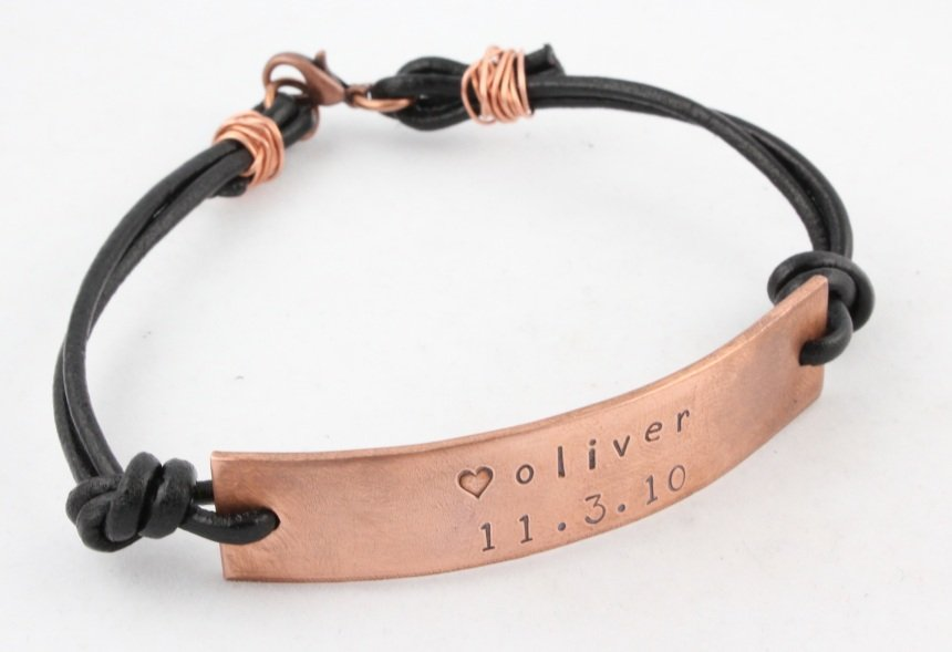 Leather Copper Bracelet Personalized Men Custom Hand Stamped