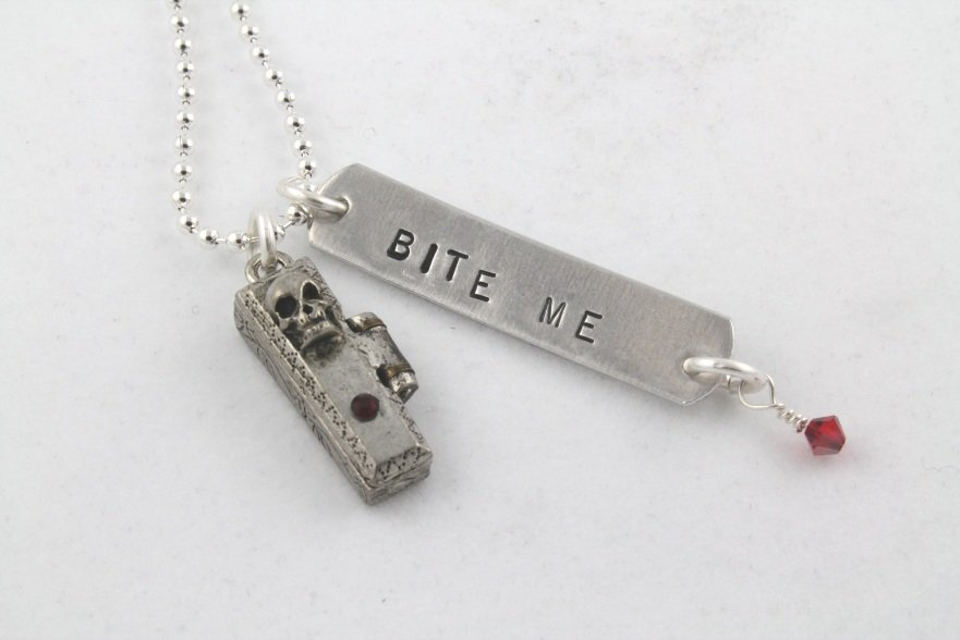 Halloween Coffin Silver Necklace N118