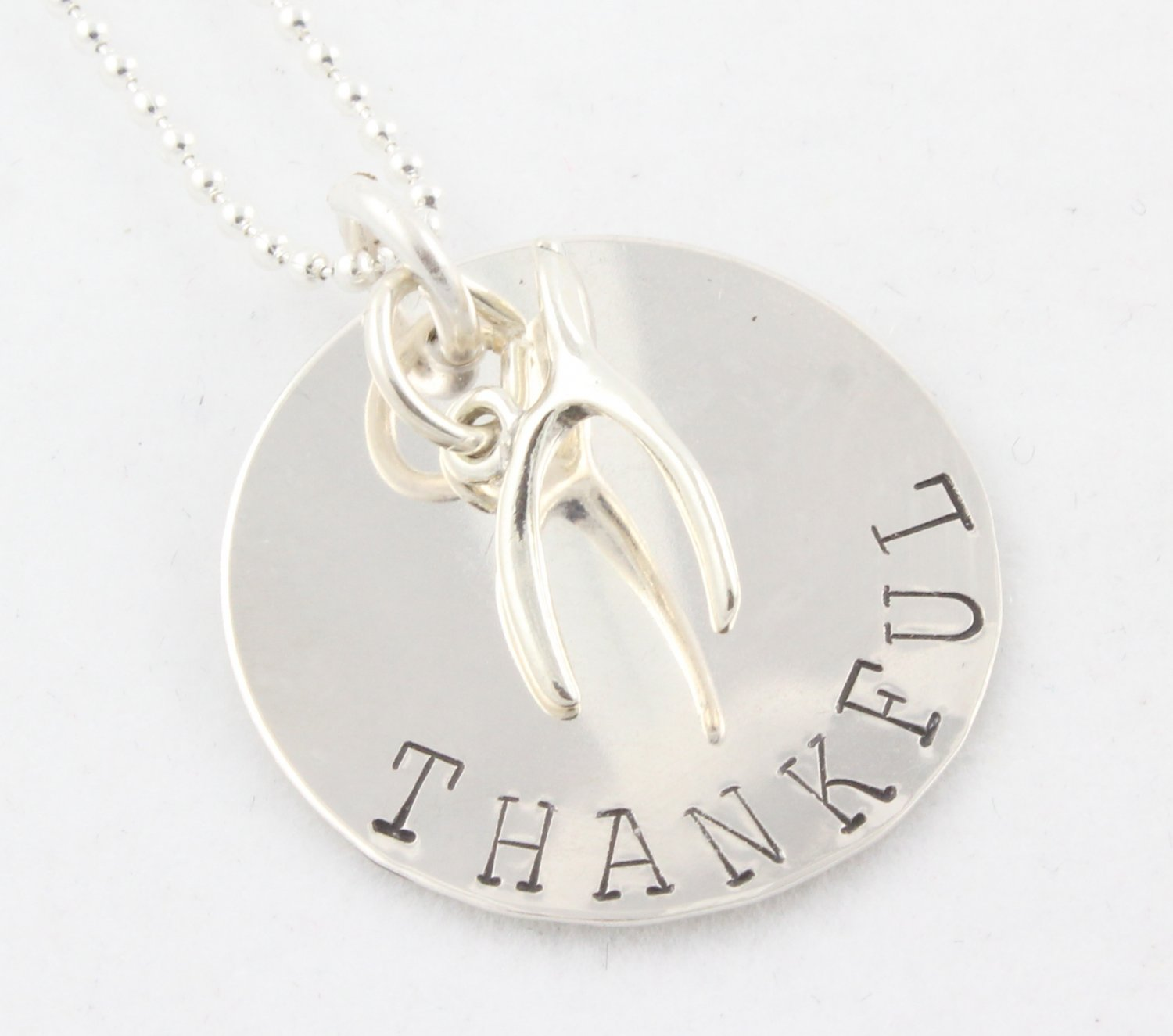 THANKFUL WISH WISHBONE Hand Stamped Sterling Silver Necklace N091