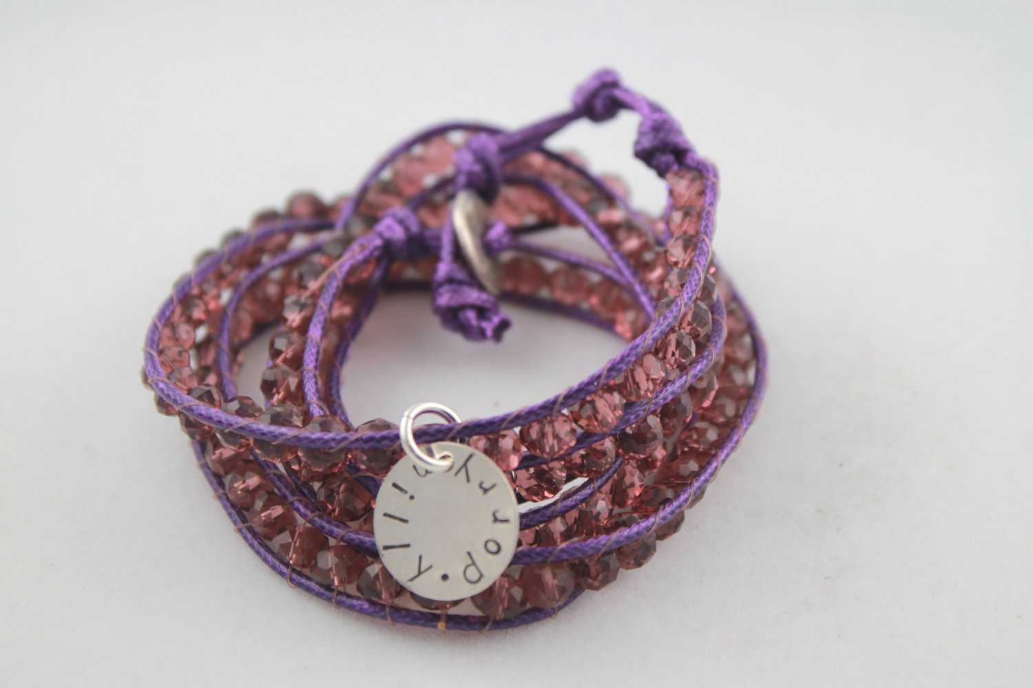 Purple Leather Wrap Bracelet Personalized Silver Custom Hand Stamped
