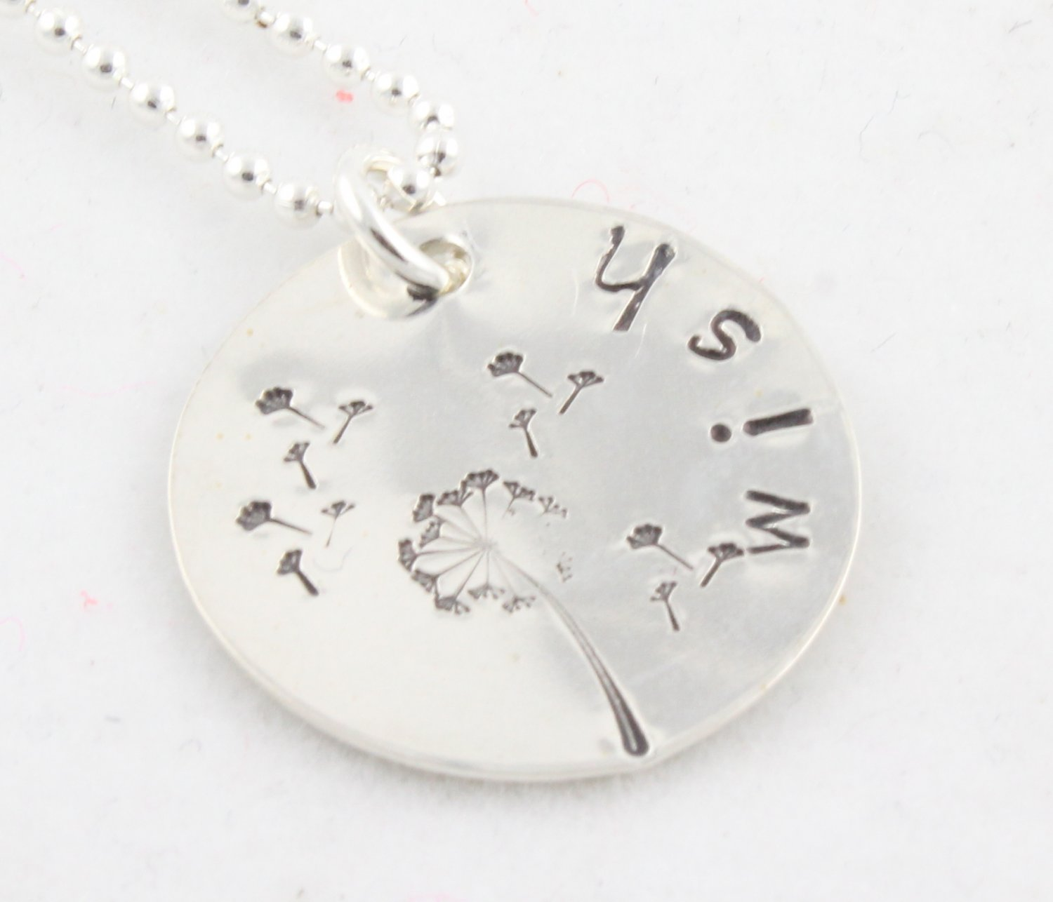 Wish Dandelion Hand Stamped Sterling Silver Necklace N089