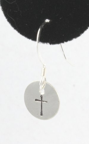 Simple Cross Earrings Sterling Silver Dangle Circle Hand Stamped